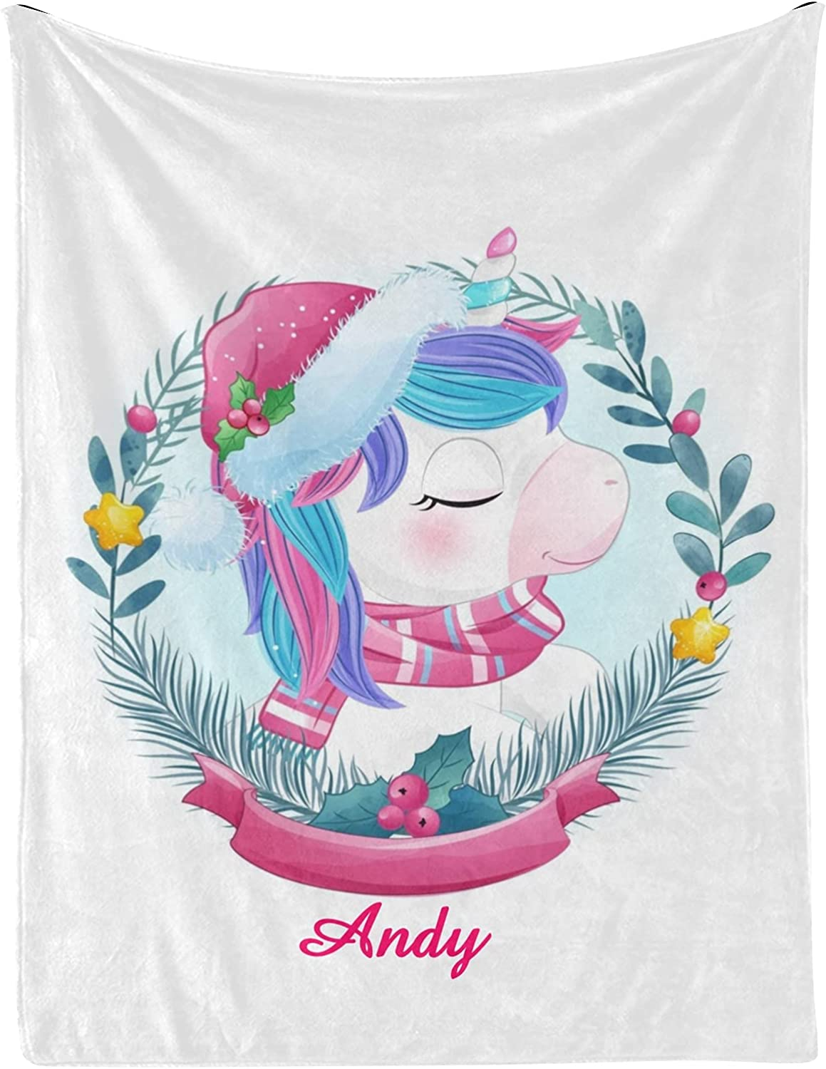 Unicorn Christmas Star Berry Personalized Baby Nam Blankets with Los Angeles Max 56% OFF Mall