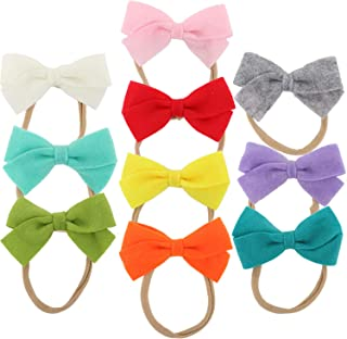 10 PACK Bowknot Hairbow Elastic Stretchy Elastic Soft Nylon Headbands Slim Thin Hairband Bows Knot Turban Hair Bows Access...
