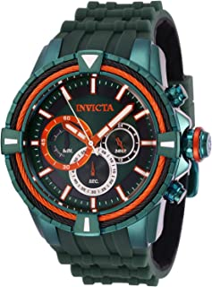 Men's Bolt Stainless Steel Quartz Watch with Silicone Strap, Green, 28 (Model: 29082)