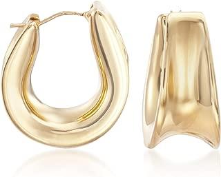 Italian Andiamo 14kt Yellow Gold Curved Hoop Earrings