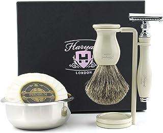 Haryali London Męski zestaw do golenia, 5-częściowy super czarny pędzel do golenia włosów borsuka, stojak na szczotki ze s...