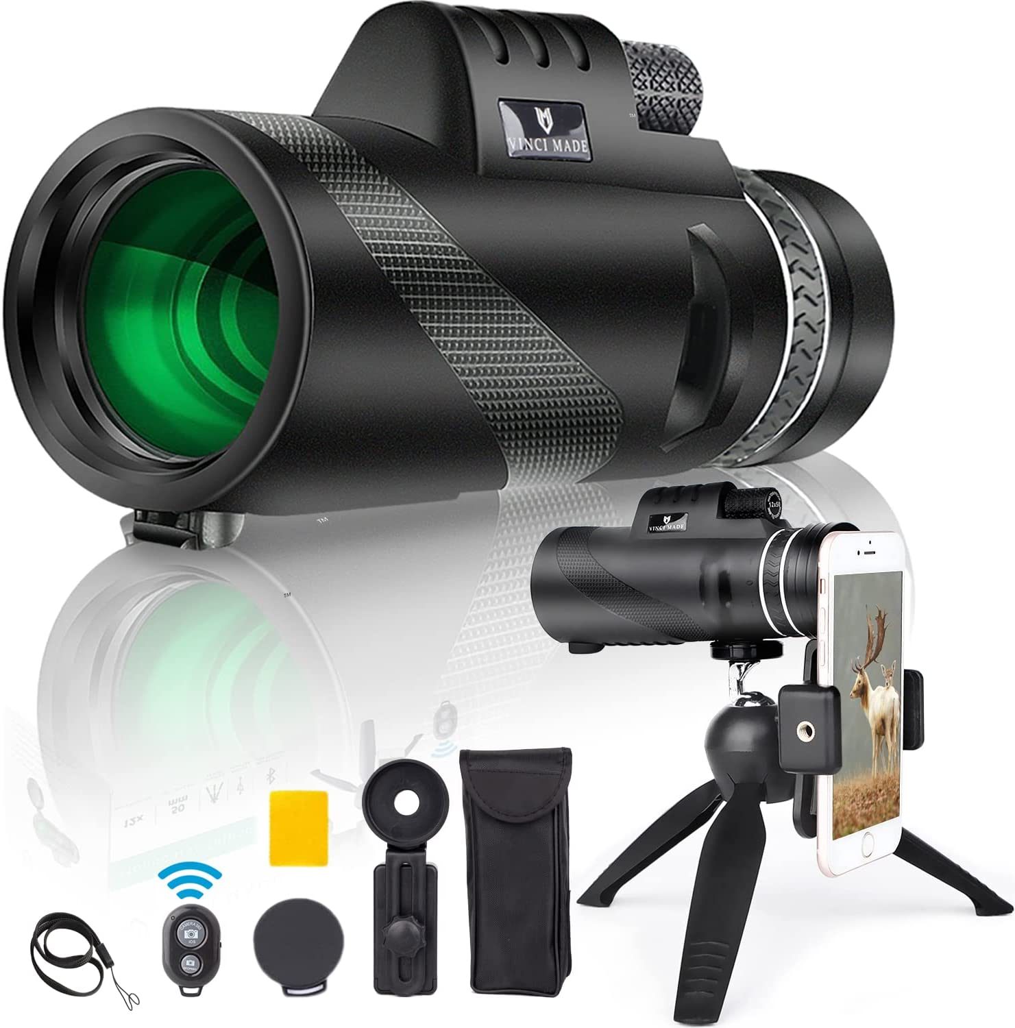 Vinci Made 12X50 Monocular Telescope for Smartphone with Upgraded Tripod & Shutter - High Power Monocular Telescope for Adults - Compact High Definition Monocular Scope for Bird Watching Hunting : Electronics