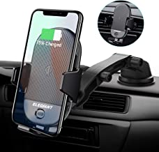ELEGIANT Qi Wireless Car Charger Mount, 15W 10W 7.5W Infrared Sensor Automatic Clamping Windshield Dashboard Air Vent Phone Holder Compatible with iPhone 11/11 Pro/Xs/XS Max/XR/X/8/Galaxy S10/S10+/S9