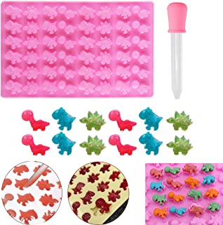 Mini 48 Dinosaur Silicone Gummy Chocolate Baking Mold with Dropper Ice Cube Tray Candy Sweet Jelly Mould Cake Cupcake Topp...