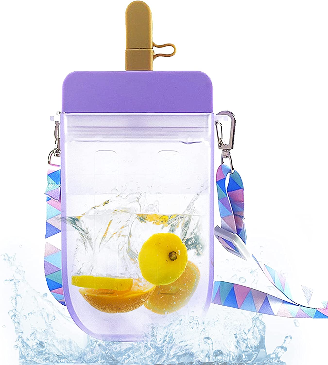 safety Water Bottle Cute with Straws SEAL limited product Clear Cream Creative Ice Cup