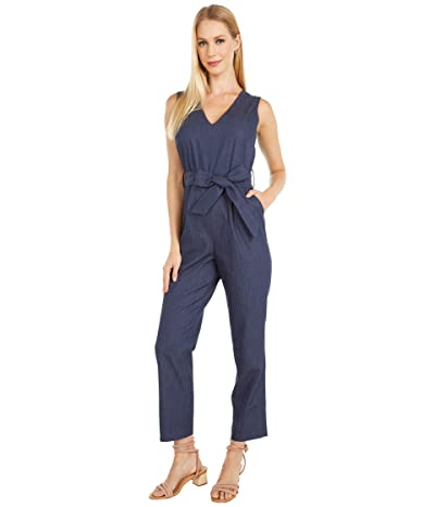 Vince Camuto Sleeveless Faux Denim Belted Jumpsuit (Night Navy) Women