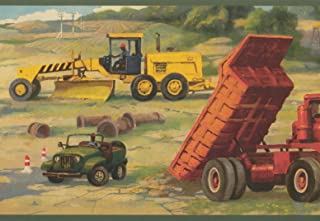 Construction Site Truck Bulldozer Kids Wallpaper Border Retro Design, Roll 15' x 9