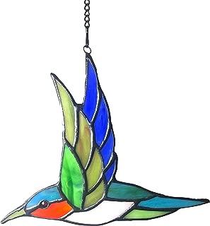 Alivagar Stained Glass Humming Bird Window Hanging Sun Catcher, 6 1/2