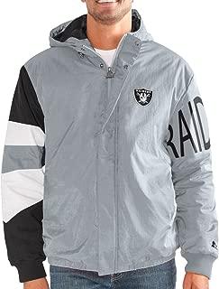 STARTER Oakland Raiders NFL Men's Knockdown Full Zip Premium Hooded Jacket