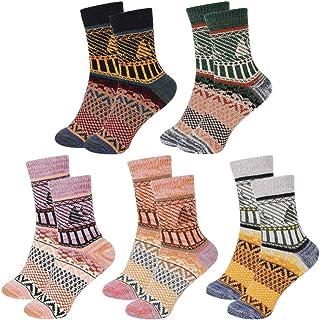 VDSOW, Calcetines para hombre, 5 pares de calcetines térmicos mullidos para mujer, calcetines de punto cálidos de lana gruesa para Año Nuevo, regalos de cumpleaños para mujeres, niñas, Reino Unido 4-8