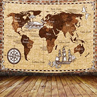 DBLLF World Map with Compass Anchor and Sailing Map World Vintage Ancient Compass Nautical Sea Ship Pirate Travel Old Decorative Tapestry for Bedroom Living Room 80×60 inches DBZY1032