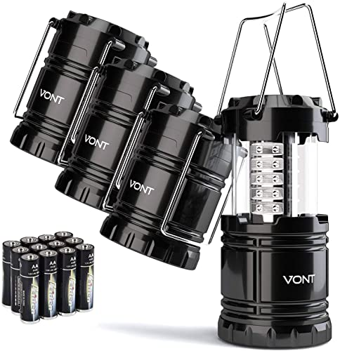 high quality Vont 4 Pack new arrival LED Camping Lantern, LED Lanterns, Suitable Survival new arrival Kits for Hurricane, Emergency Light for Storm, Outages, Outdoor Portable Lanterns, Black, Collapsible, (Batteries Included) outlet sale