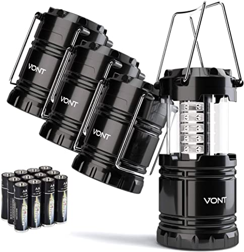 Vont 4 Pack LED Camping Lantern, LED Lanterns, Suitable Survival Kits for Hurricane, Emergency Light for Storm, Outag...