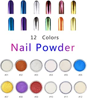 ALIVER Nail Art Glitter Powder Dust Mirror Chrome Effect Dust Shinning Art DIY Magic Holographic Pigment Set with Sponge Stick 12 Colors … (12 colors)