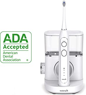 Waterpik Sonic-Fusion Professional Flossing, Electric Toothbrush & Water Flosser Combo in One, SF-02, White
