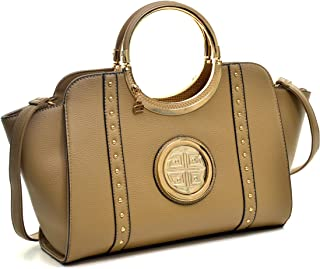 Dasein Women's Studded Top Ring Handle Wing Tote Satchel Bag Purse with Shoulder Strap