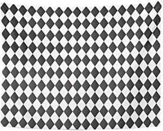 Emvency Tapestry Gray Harlequin Black and White Abstract Geometry Pattern Diamond Shape Basic Home Decor Wall Hanging 60