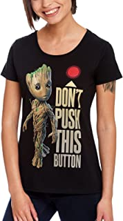 Guardians Of The Galaxy Camiseta Mujer Baby Groot Button para Vol. 2 Marvel Cotton Black