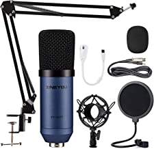 Best Condenser Microphone ZINGYOU Computer Mic ZY-007 Recording Bundle for Gaming Streaming YouTube Videos Professional Cardioid Microphone Include Adjustable Arm Stand, Shock Mount and Pop Filter(Blue) Review