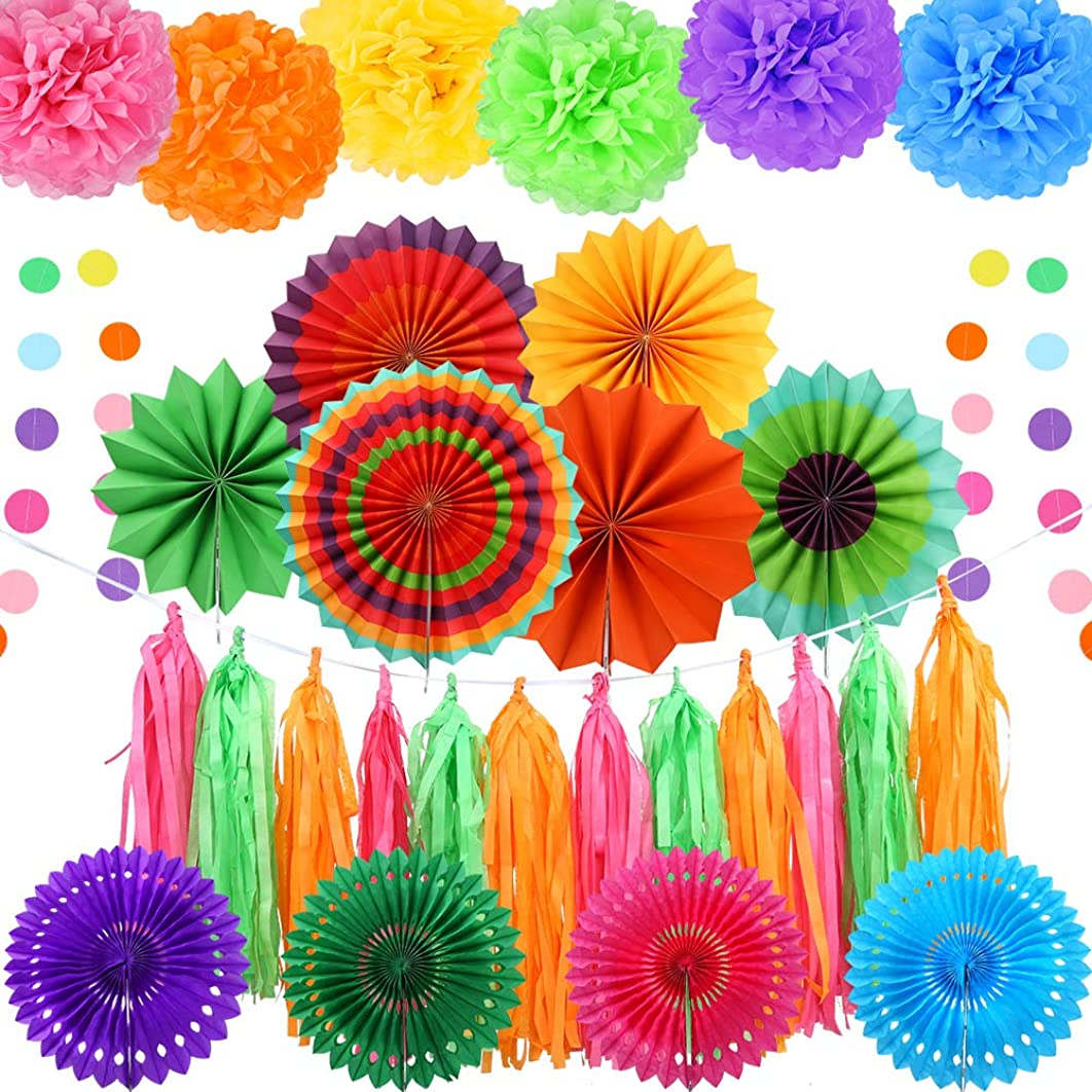 Auihiay 20 Pieces Fiesta Party Decoration Include Paper Fans, Tissue Paper Pom Poms, Circle Dot Garland and Tissue Paper Tassel for Birthday Parties, Wedding Décor, Fiesta or Mexican Party