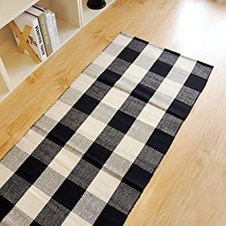 24''x70.8'' - 100% Cotton Plaid Rugs Black/White Hand-Woven Checkered Door Mat Washable Rag Throw Rugs, Reversible Black and White Plaid Rug