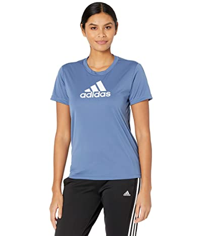 adidas Primeblue Designed 2 Move Logo Sport Tee (Crew Blue/White) Women