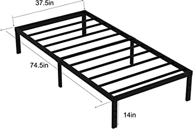 FODUE Cadre de lit à lattes très résistant, 35,6 cm, pour matelas de 30,5 cm, rangement sous le lit de 30,5 cm, pas de sommie