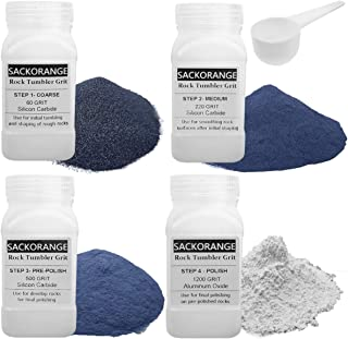Sackorange 3 Pounds 4 Bottles Rock Tumbler Refill Grit Media Kit | 4-Steps for Tumbling Stones, Compatible with National Geographic, Thumler, and Lortone Tumblers (4 Grit Assortment)