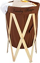 HOKIPO® Laundry Basket Large 80-Litre European Pattern Laundry Hamper Cloth Bag with Foldable Wooden Stand Support.(Brown)