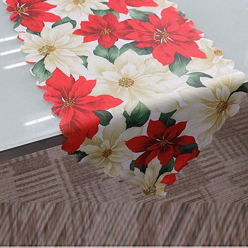 Ximandi Clearance Christmas Poinsettia Table Runner Linens Decorative Christmas Tapestry Table Runner 13 X 71 Santa Claus And Floral Design D