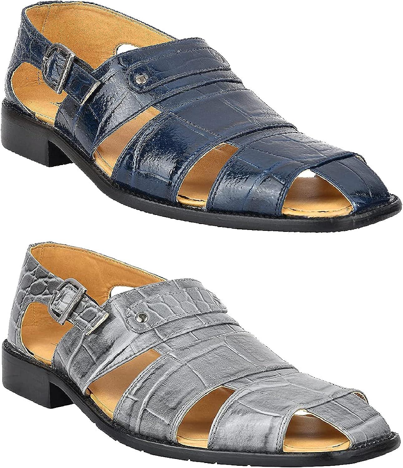 LIBERTYZENO Men's Closed Toe Selling and selling Sandals Crocodile Leather Purchase Print PU