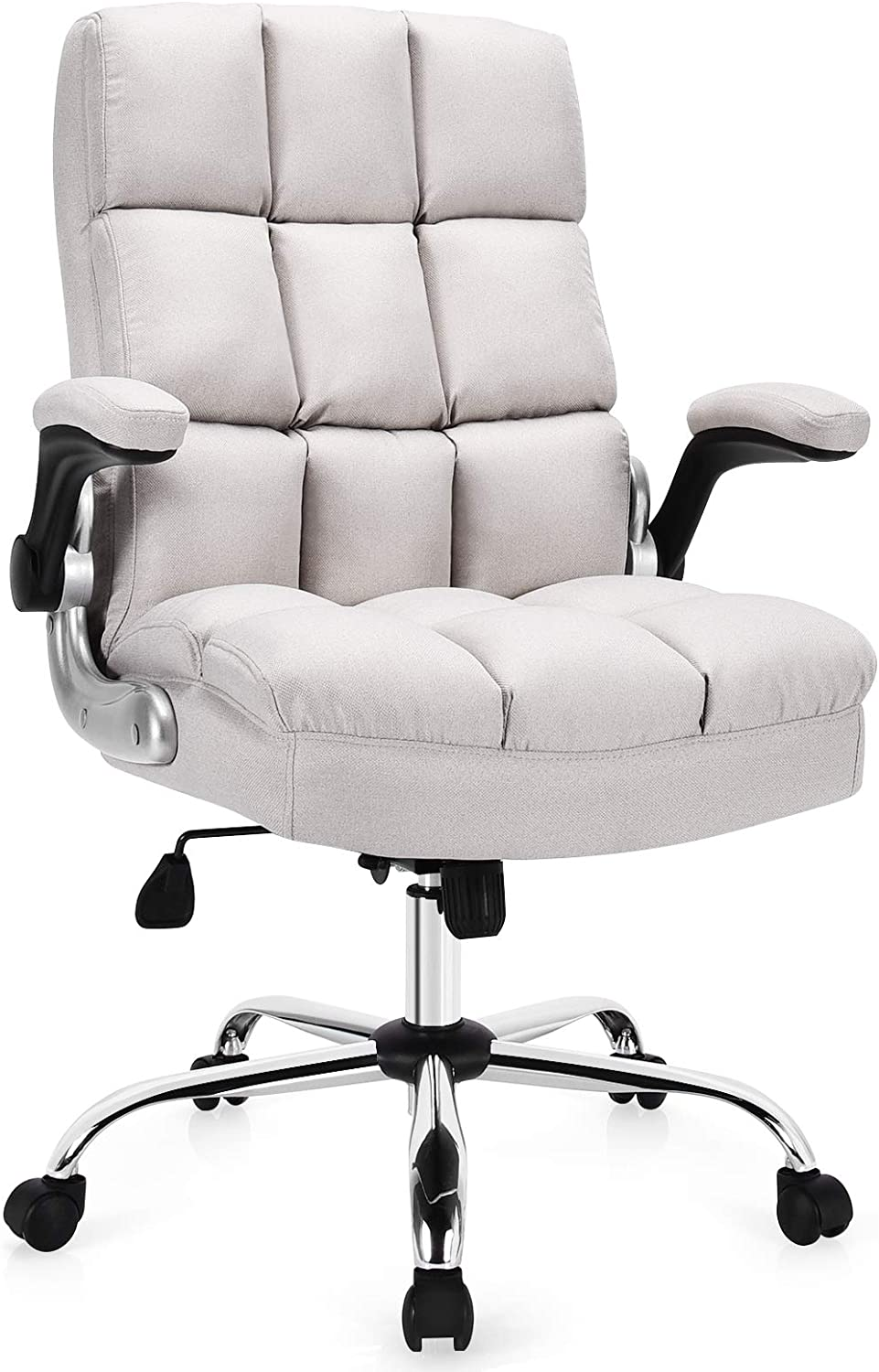 Giantex Executive Office Chair, Big and Tall Ergonomic Computer Chair, Adjustable Tilt Angle and Flip-up Armrest Linen Fabric Upholstered Chair with Thick Padding, High Back Managerial Chair (Beige)