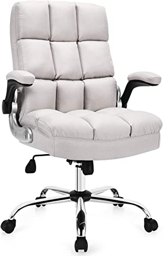 popular Giantex Executive Office Chair, Big and Tall Ergonomic high quality Computer lowest Chair, Adjustable Tilt Angle and Flip-up Armrest Linen Fabric Upholstered Chair with Thick Padding, High Back Managerial Chair (Beige) online