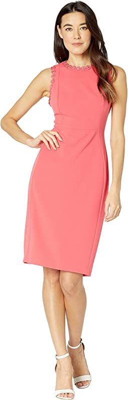 Solid Sheath Dress with Flower Detail