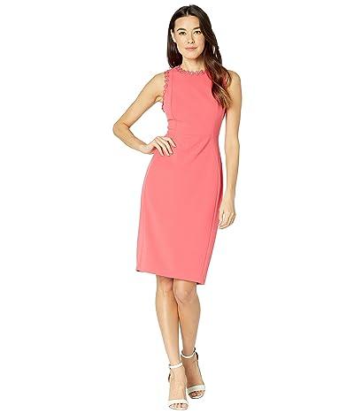 Calvin Klein Solid Sheath Dress with Flower Detail (Watermelon) Women