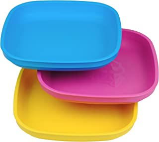 Re-Play Made in USA 3pk Plates with Deep Sides for Easy Baby, Toddler, Child Feeding..