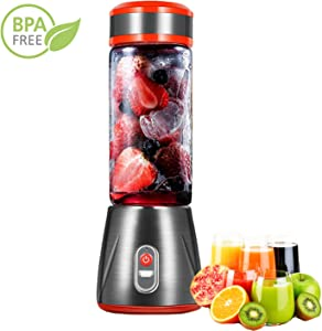 Portable Juicer Blender USB Rechargeable Travel Juicer Cup Personal Size mini blender for Shakes and Smoothies 6 cutter head&5200 mAh Rechargeable Battery