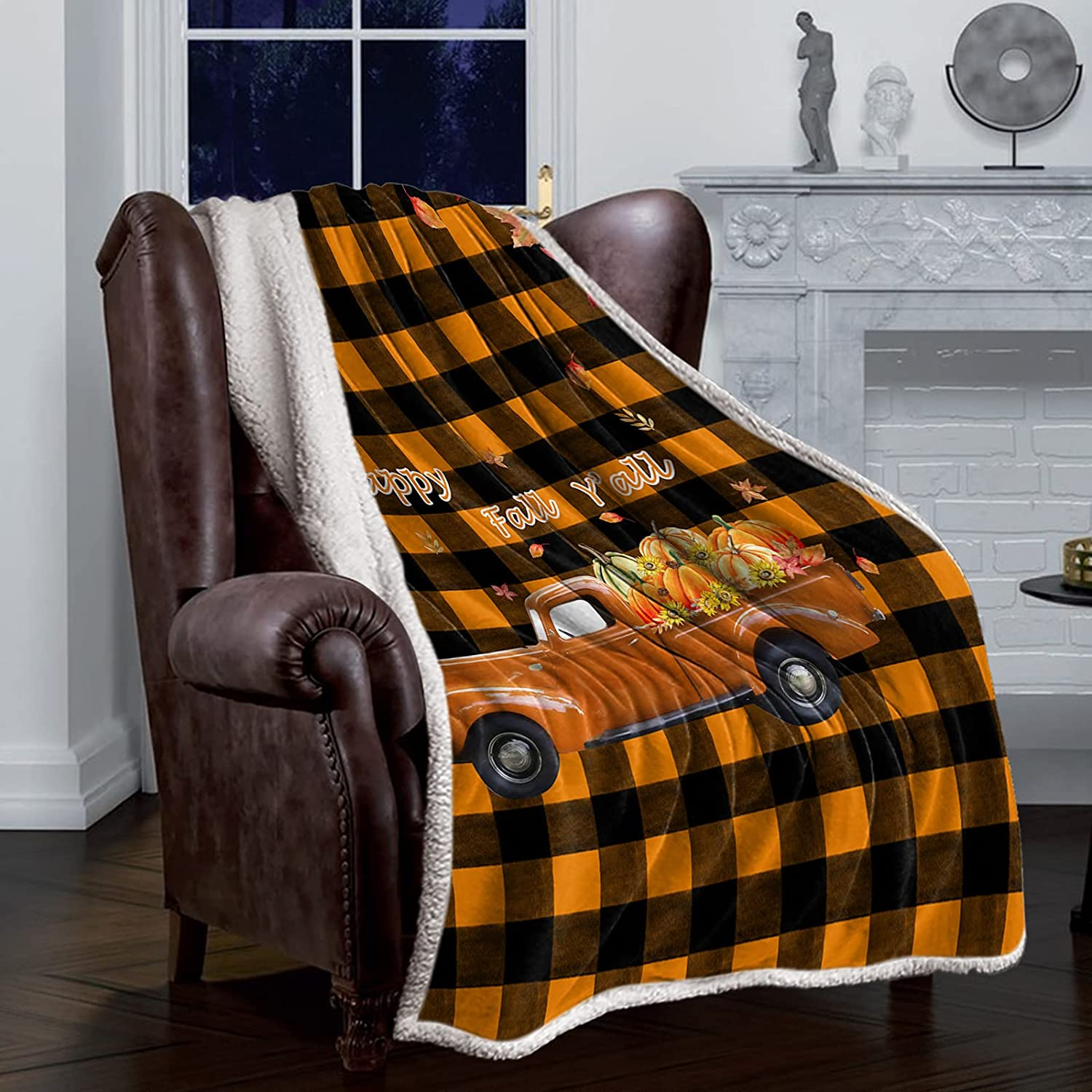 Sherpa Luxury goods Flannel Throw Blankets Fall Cheap mail order specialty store Harvest Pumpkin Thanksgiving