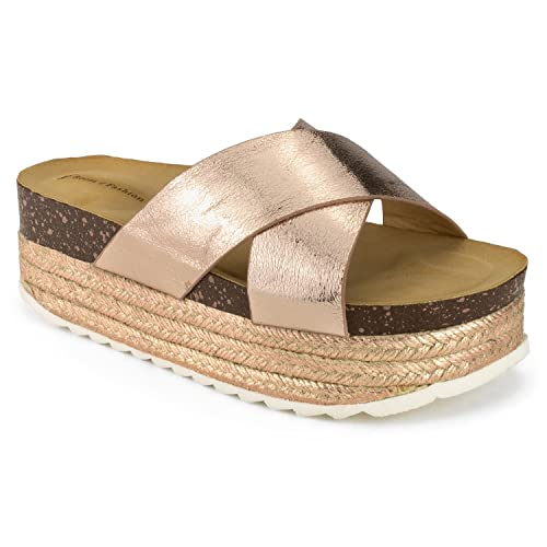 234f5ac2acc RF ROOM OF FASHION Women s Open Toe Espadrille Lug Sole Summer Slip on Platform  Footbed Slides
