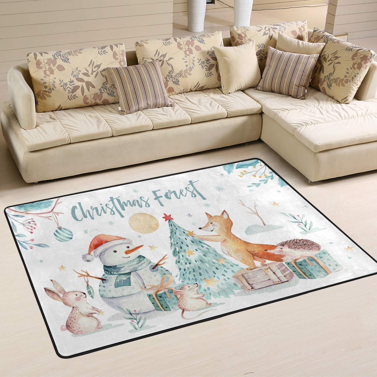 ALAZA Merry Christmas Snowman Tree Fox Rabbit Animal Area Rug Soft Non Slip Floor Mat Washable Carpet for Bedroom Living Room 1 Piece 4x6 Feet