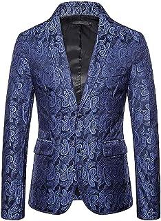 Allthemen Mens Printed Blazer Jacket Long Sleeve Regular Fit Jacket Coats for Wedding Dinner Prom