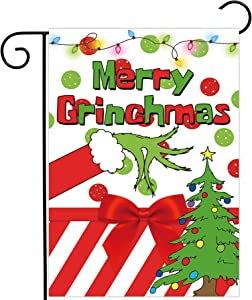 Allenjoy Merry Grinchmas Garden Flag for Outside Mailbox Vertical Santa Christmas Winter Pine Tree Yard Sign Seasonal Xmas Custom Patio Outdoor Decors 12x18 Double Sided Washable Polyester UV-Resist