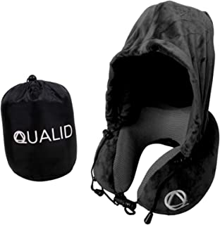 Qualid Travel Pillow with Hoodie- Ultra Soft Comfort, Strong Neck Support, Travel and Home Use, Premium Memory Foam, Shapes to Your Body, Adjustable, One Size Fits All (Black)