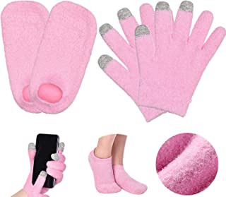 kelebin Moisturizing Set Spa Gloves and Sock Set Gel Gloves and Sock Heal Dry Skin for Repair Fuzzy Pink