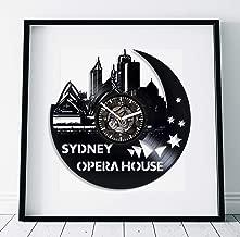 Kovides Sydney Opera House Art Wall Clock Modern Australia Clock Lp Retro Vinyl Record Wall Clock Large Birthday Gift for Woman Travel Gift Sydney Opera House Clock Handmade Art Wall Clock Vintage