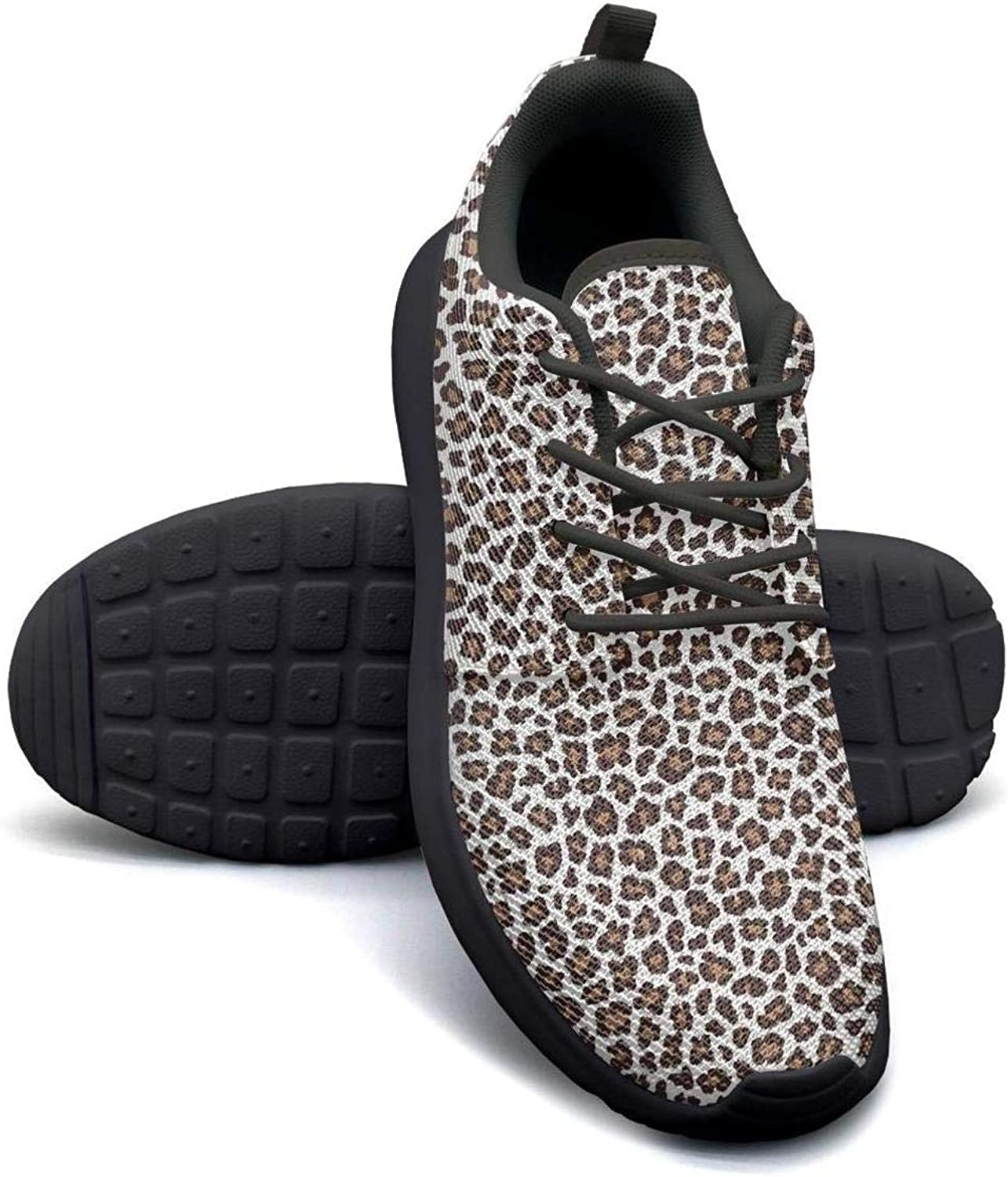 Yellow Leopard print Casual Sneakers for Women Low Top Non-Slip Run shoes