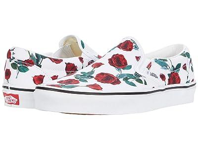 Vans Classic Slip-On ((Red Roses) True White) Skate Shoes