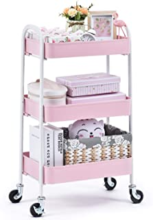 TOOLF 3 Tier Rolling Cart, No Screw Metal Utility Cart, Easy Assemble Utility Serving Cart, Sturdy Storage Trolley with Handles, Locking Wheels, for Classroom Office Home Bedroom Bathroom, Pink