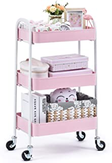 KINGRACK 3 Tier Rolling Cart, No Screw Metal Utility Cart, Easy Assemble Utility Serving Cart, Sturdy Storage Trolley with Handles, Locking Wheels, for Classroom Office Home Bedroom Bathroom, Pink
