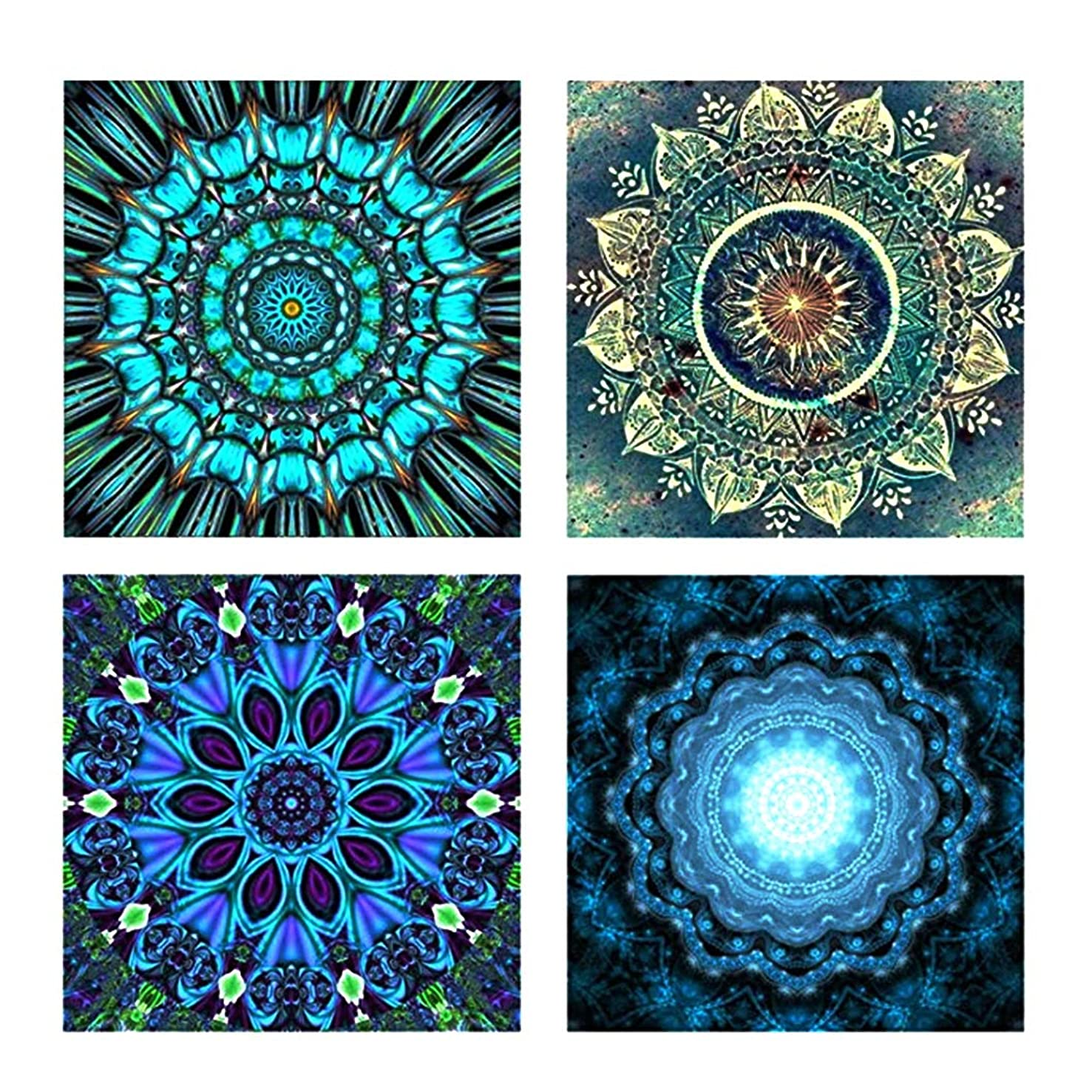 4 Pack 5D DIY Flower Painting Diamond Painting Set Decorating Cabinet Table Stickers Paintings Pictures for Living Room(25X25CM/9.8X9.8inch)